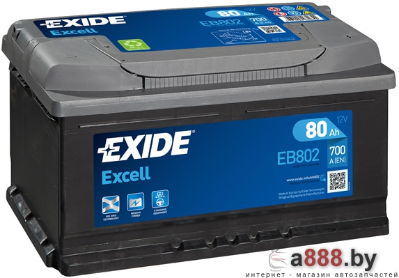 Exide Excell EB802 (80 А/ч)